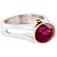 Kian Design Three Stones 4.32 Carat Rhodolite Garnet and Black Diamonds Ring