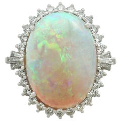 1960s 14.65 Carat Opal and 1.10 Carat Diamond White Gold Cocktail Ring