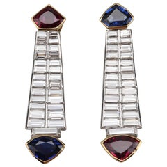 Ruby Sapphire Diamond Earrings