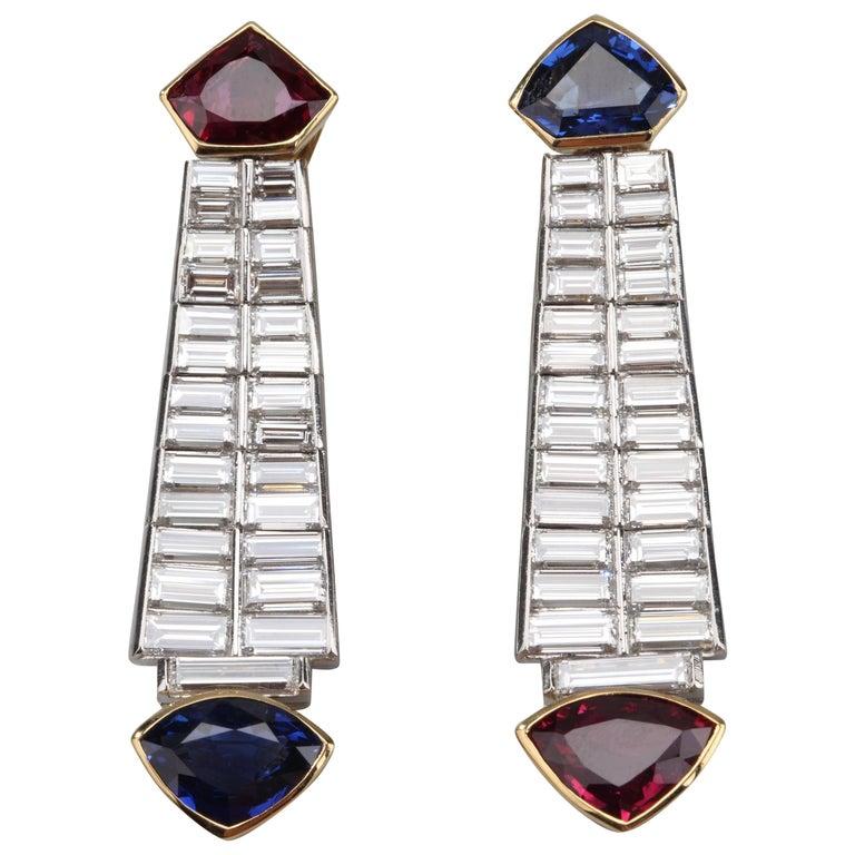 Ruby Sapphire Diamond Earrings