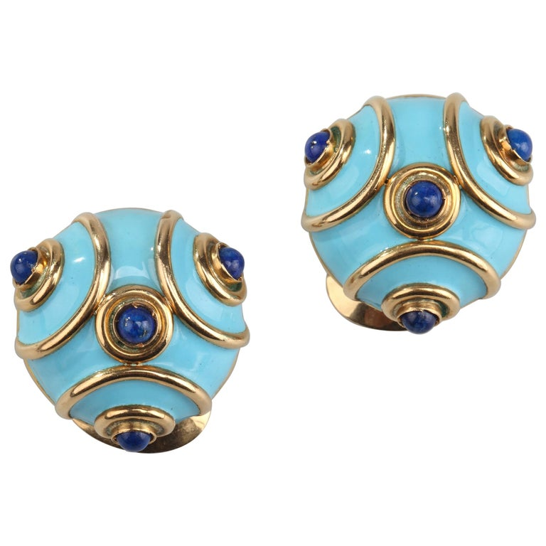 1960s Enamel Lapis Lazuli Earrings