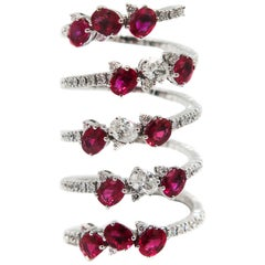 Ruby and Diamond Spiral White Gold Ring