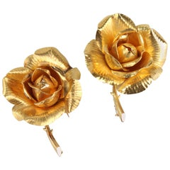 Pair of Hermes Gold Rose Brooches