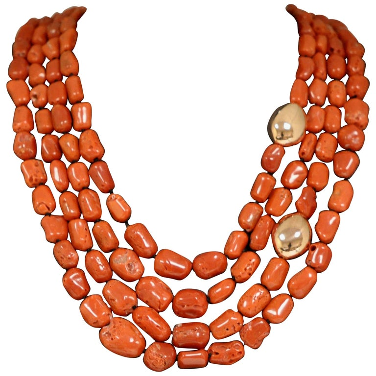 Coral and Rose Gold Pearls Bakelite Clasp Beaded Necklace
