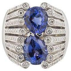 Pear Cut Tanzanite and Diamond Ring