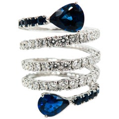 Sapphire and Diamond Spiral White Gold Ring