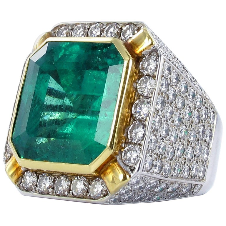 Certified Colombian Emerald Diamond Gold Ring