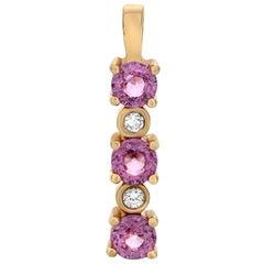 Pink Sapphire Diamond Pendant in Yellow Gold