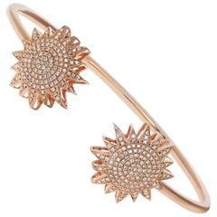 Diamond Starburst Cuff Bangle in Rose Gold