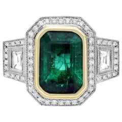Emerald Diamond Three-Stone Engagement Ring with Diamond Pave in Two-Tone Gold