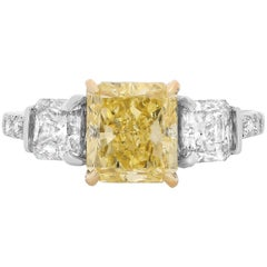 Yellow Diamond White Diamond Three-Stone Engagement Ring in Two-Tone Gold