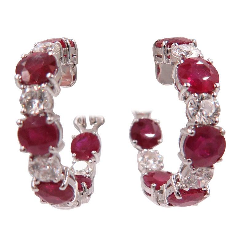 Ruby and Diamond White Gold Hoop Earrings