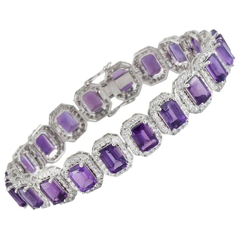Diamond and Amethyst Bracelet 20.38 Carat For Sale