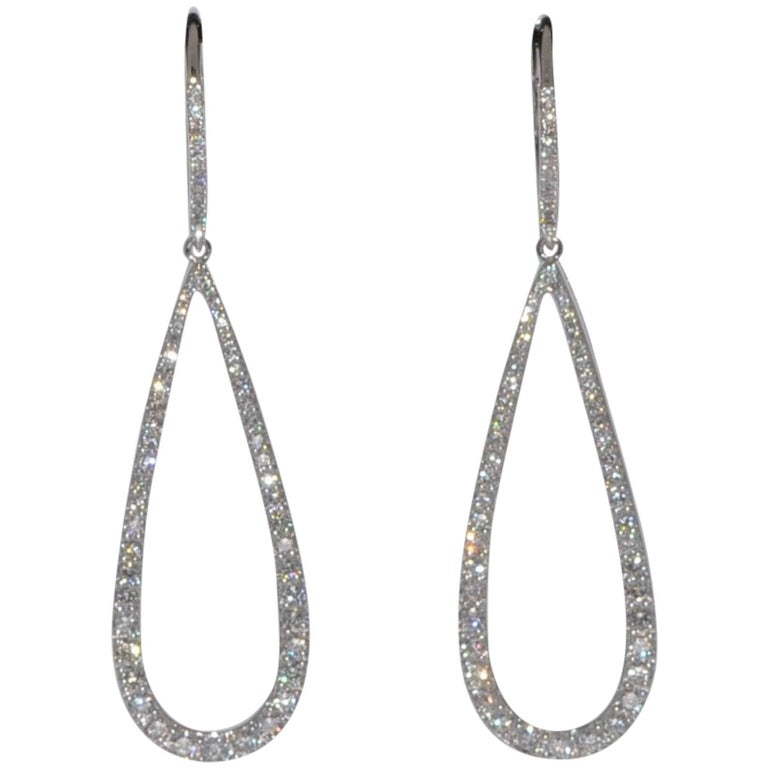 White Diamonds G/SI 1.45 Carat White Gold Chandelier Earrings