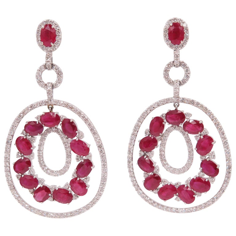 Ruby and Diamond Chandelier Earrings