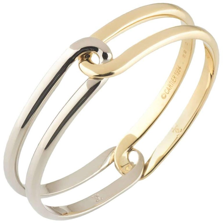 Cartier White and Yellow Gold Bangle