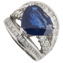 Heart Cut Sapphire and Diamond Ring 7.66 Carat