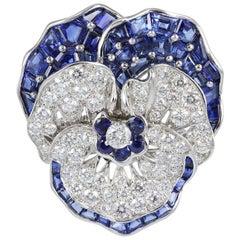 Oscar Heyman Sapphire Diamond Pansy Pin