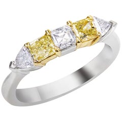 Alternating Yellow and White Diamond Five-Stone Ring