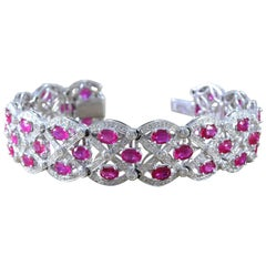 Wide Ruby Diamond Gold Bracelet