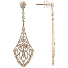 Art Nouveau Style Diamond Rose Gold Earrings