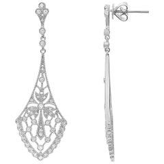 Art Nouveau Inspired Diamond Rose Gold Drop Earrings