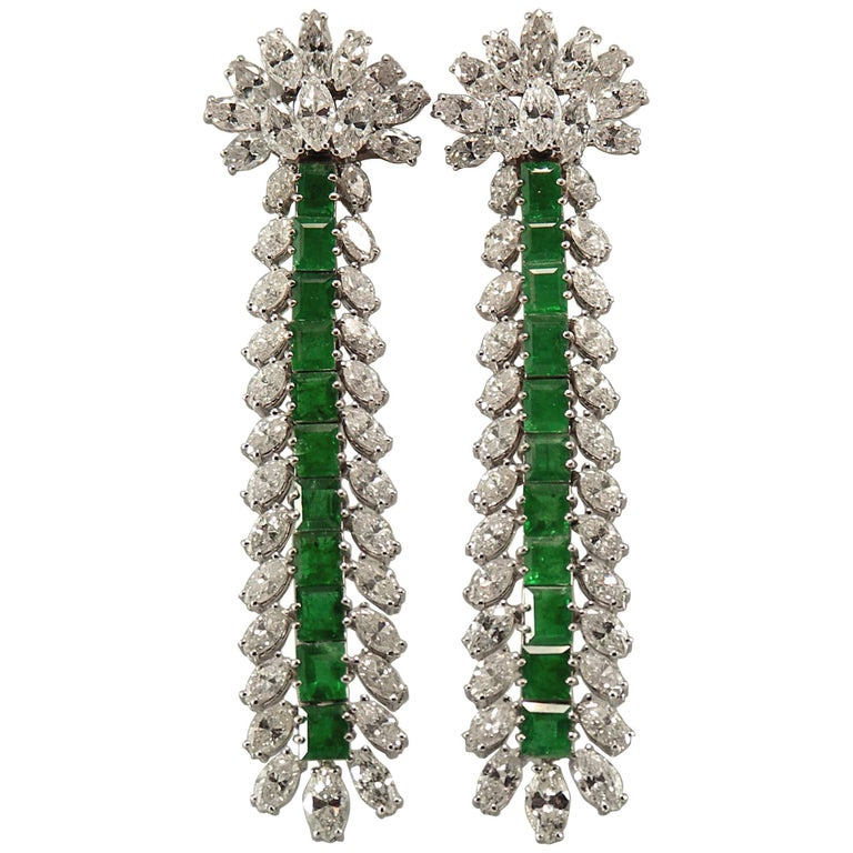 Extra Long, Platinum, Emerald and Diamond Cocktail Earrings
