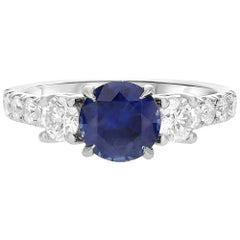 GIA Certified 1.42 Carat Blue Sapphire Diamond Three-Stone Ring in White Gold