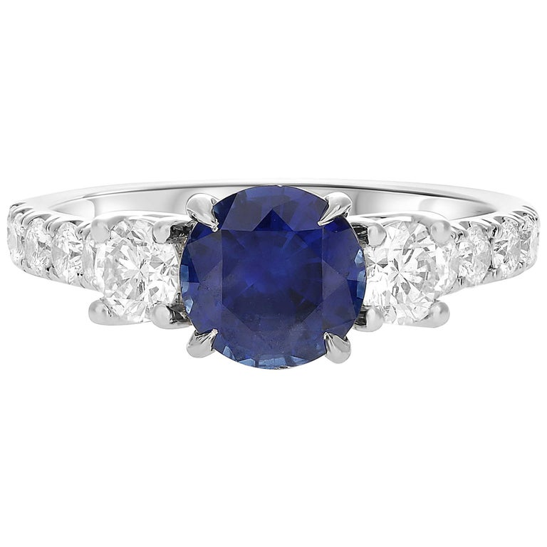 GIA Certified 1.42 Carat Blue Sapphire Diamond Three-Stone Ring in White Gold For Sale
