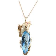 Blue Topaz Diamond Gold Koi Fish Pendant Necklace