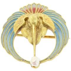 Art Nouveau Plique-a-Jour Gold Brooch