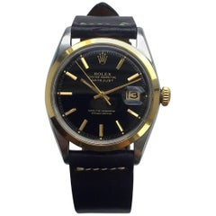 Rolex Stainless Steel Gold Black Gilt Dial Oyster Perpetual Datejust Wristwatch