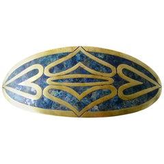 Los Castillo Brass Malachite Turquoise Mexican Modernist Belt Buckle