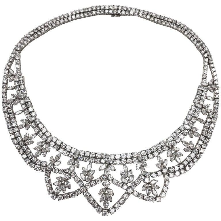 Diamond Platinum Garland Style Necklace