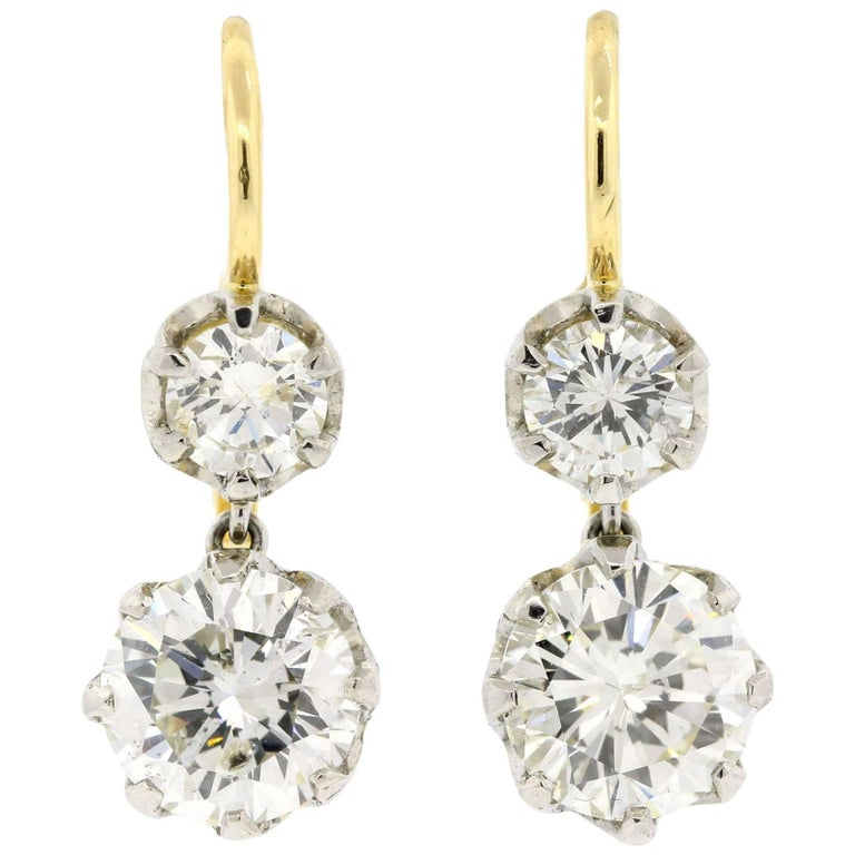 Dangling Diamond Platinum Gold Earrings