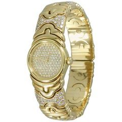 Bulgari Ladies Yellow Gold Diamond Parenthesis Quartz Bangle Wristwatch, c1993