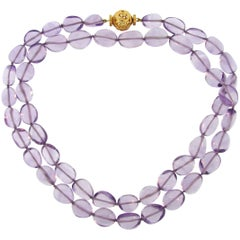 Verdura Amethyst Bead Strand Necklace with Yellow Gold Clasp
