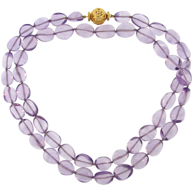 Verdura Amethyst Bead Strand Necklace with Yellow Gold Clasp For Sale