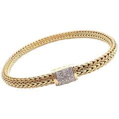 John Hardy Classic Chain Diamond Yellow Gold Bracelet