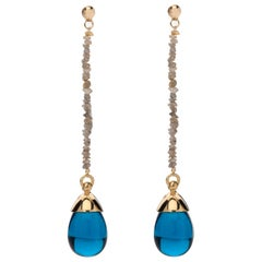Rough Cut Diamond London Blue Quartz Stone 18 Karat Gold Drop Long Earrings