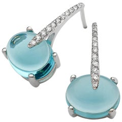 Luxurious Diamond Sky Blue Topaz 18 Karat Solid White Gold Drop Day Earrings