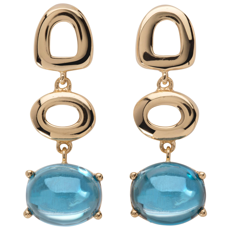 MAVIADA's St Tropez Swiss Blue Topaz 18 Karat Yellow Gold Drop Earrings