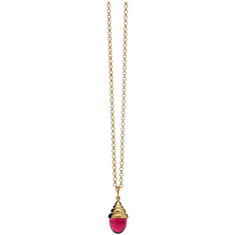 Pink Tourmaline Classic Quartz 18 Karat Yellow Solid Gold Drop Pendant Necklace