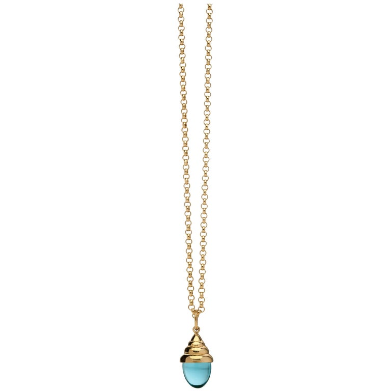 Aqua Blue Classic Chic Quartz 18 Karat Yellow Solid Gold Drop Pendant Necklace