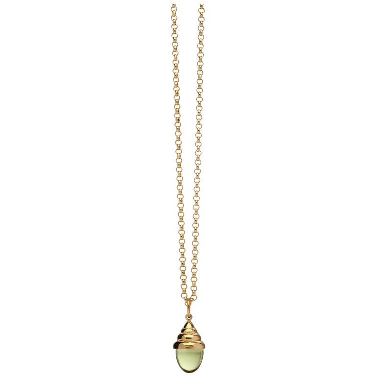 Green Peridot Classic Quartz 18 Karat Yellow Solid Gold Drop Pendant Necklace