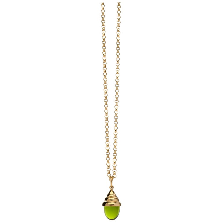 Green Amethyst Chic Quartz 18 Karat Yellow Solid Gold Drop Pendant Necklace