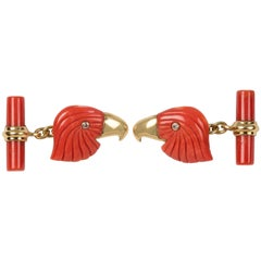 18 Karat Yellow Gold Mediterranean Coral Eagle Diamond Gold Cufflinks