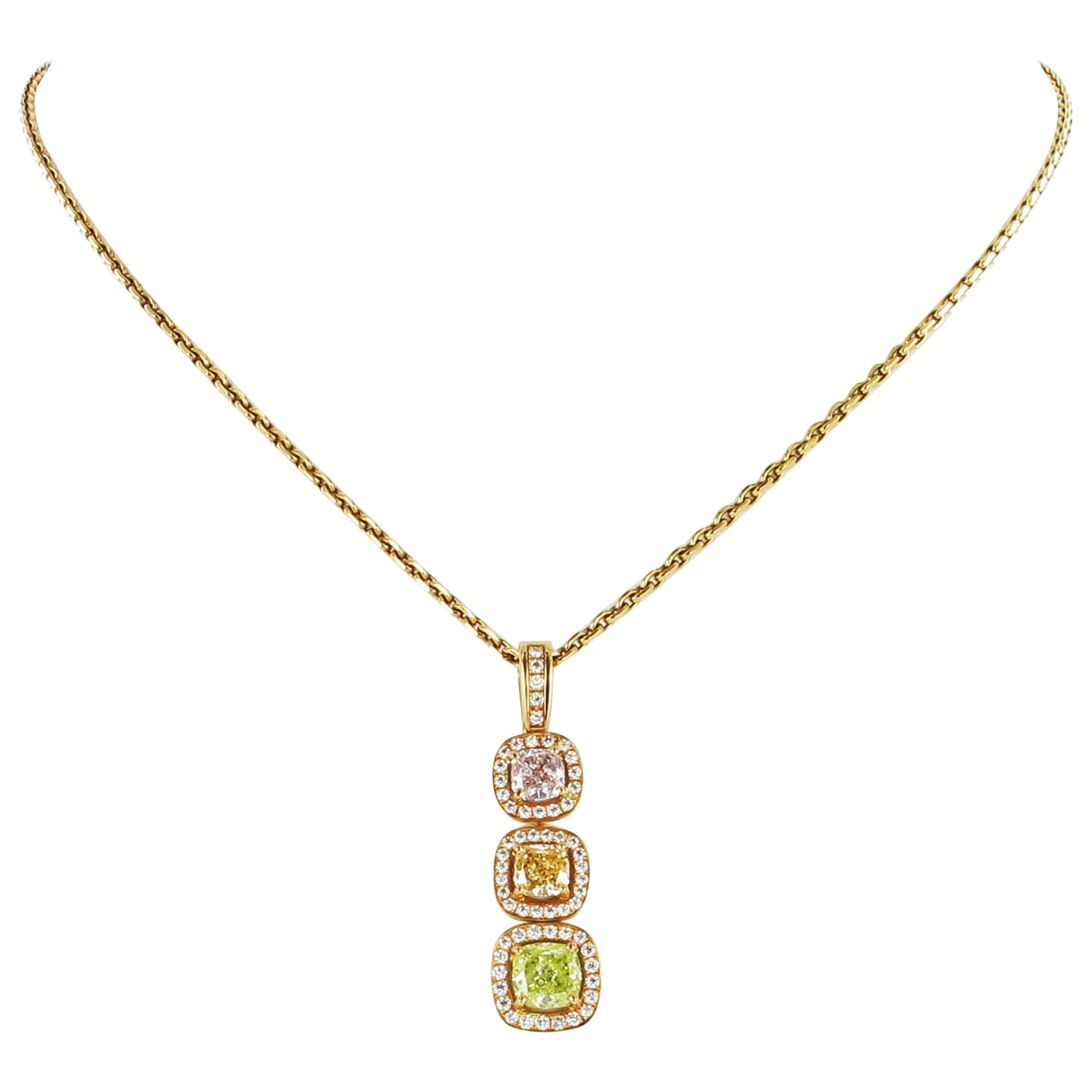 GIA Certified Fancy Color Diamond Gold Necklace