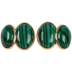 18 Karat Yellow Gold Double Oval Malachite Cufflinks