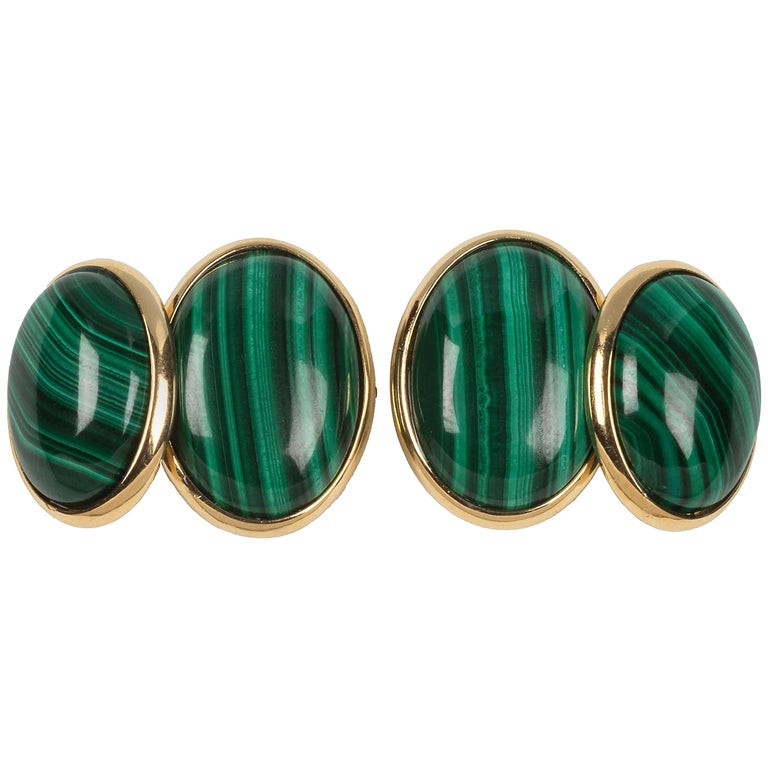 Double Oval Cufflinks in Gold and Malachite